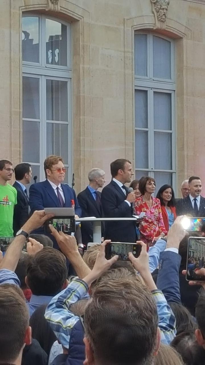 Sir Elton John and President Emmanuel Macron